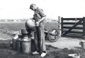 boer met melk vroeger